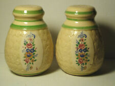 Vintage Japan Large Yellow Beige Floral Salt & Pepper Shaker Set
