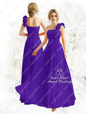 Elegant Chiffon one shoulder flower bridesmaid evening wedding party dress UK