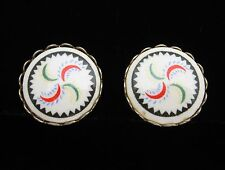 HEX SIGN EARRINGS Vintage Glass  Goldtone Screw Back, Round Black, Green, Red