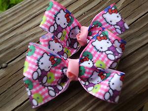 """Hair Bow a pair of Med 2"""" Hello Little Kitty with purple Teddy Bear Hair Bow USA"""