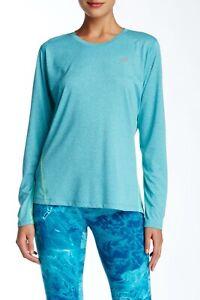 NWT! New Balance Women's Heathered Long sleeve, BLUE/TEAL HEATHER, WT53151 SLH