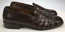Men's 10.5 M Tommy Bahama ITALY Brown Woven Leather Casual Sandals Loafers Shoes
