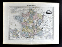 1877 Migeon Map Feudal France Medieval Era Paris Chateau de Pierrefonds Castle