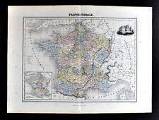 1877 Migeon Map Feudal France Medieval Era Paris Chateau de Pierrefonds Castle