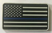 Blue Line Police US American Flag PVC Patch Hook&Loop  (SWAT NYPD SF PMO) 522