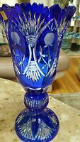 CAESAR CRYSTAL BOHEMIAE LEAD CUT VASE BOHEMIAN CZECH COBALT BLUE GLASS 17""