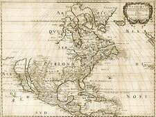 TRAVEL MAP NORTH AMERICA AMERIQUE HISTORIC 1650 ART POSTER PRINT LV4058