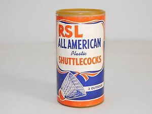 VINTAGE GAME RSL ALL AMERICAN PLASTIC SHUTTLECOCKS IN CAN UNUSED