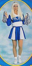 High School Cheerleader Costume Sexy Blue White Halloween Musical FREE POM-POMS!