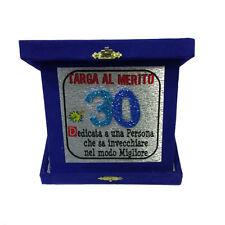 30 ANNI targa al merito compleanno blu glitter 14x14 cm made in italy