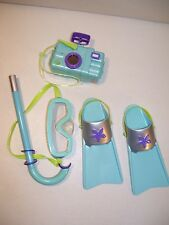 "AMERICAN GIRL BEACH SNORKEL SET FOR 18"" AMERICAN GIRL DOLL FINS CAMERA MASK"