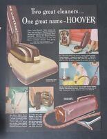 Original Print Ad 1949 HOOVER Two Great Cleaners Cylinder Triple Action