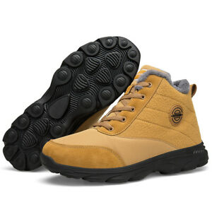 Winter Mens Shoes Snow Boots Fur-lined Lace Up Warm Ankle Boots Outdoor Shoes