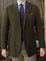 Wolle Olivgrün Herren Anzüge Tweed Jagd Smoking Geschäft Party Blazers Sakko