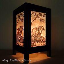 Asian Oriental Baby Elephant Bedside Table Lamp Wood Shades Desk Night Lights