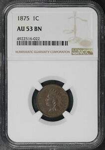 1875 Indian Head Cent NGC AU-53 BN