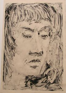 """JAMES CANT AUSTRALIAN MONOTYPE PRINT A """"STUDY OF A WOMANS HEAD"""" C 1970"""