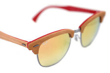 cd866d92d0c Ray-Ban CLUBMASTER WOOD 3016M 1219 7O Sunglasses RED BROWN GUNMETAL COPPER  FLASH