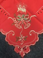 """Great Quality 54"""" Square Red Christmas Holiday Polyester Embroidery Tablecloth"""