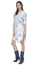 NWT Rebecca Taylor Floral Haze blue sky Drawstring Longsleeve ShirtDress Dress 4