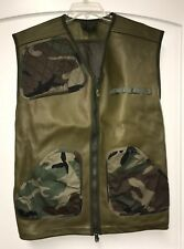 Jerkin Protective Combat Vest Green Camo Military Hunting Size XL Leather