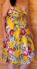 M & S Size 10 Summer Dress/Beach Dress 100% Cotton Floral Yellow Store price £25