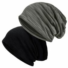 80eb6a3c1645 Pack of 2 Slouch Beanie Hat Unisex Soft Lined Jersey Skull Cap Thin Baggy  Casual