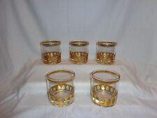 Vintage Glass Culver Antigua Gold Rocks Cocktail Glasses (5)