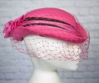 VINTAGE Hat Pink Pill Box Face Veil Bow 1980s 1950s Victorian Goodwood Brown