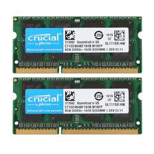 Crucial 16GB 2X 8GB PC3L-12800S DDR3L 1600MHz 1.35V Laptop Memory RAM Sodimm @ES