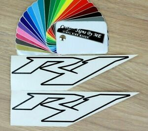 2x R1 OUTLINED Stickers Tank Fairing Vinyl Decals Adhesive For Yamaha Bike BLACK