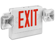 NEW LED Exit Sign with Emergency Lights & Red Lettering H-6509