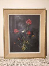 Tableau Roger COMTE huile sur panneau bois nature morte bouquet de roses