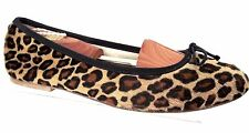 ANNIEL Leopard Print Calf Hair Ballerina Flats Size 39