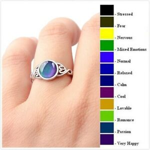Vintage 925 Silver Temperature Colour Change Mood Ring Emotion Feeling Jewellery
