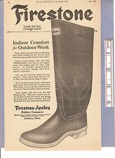 Vintage Original 1923 FIRESTONE OUTDOOR RUBBER WORK BOOTS Full-Page Print Ad