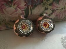 2 Antique Christmas Ornaments Indents Pink Glitter 1940-1960S #4