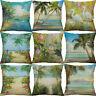 Coconut Beach Printing Cotton Linen Pillow Cases Cushion Cover Home Decor