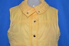 vintage 70s Beconta Yellow Down Fill Puffy Womens Winter Vest Ski Skiing Sz 12