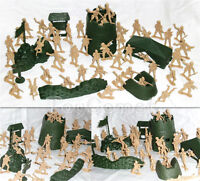 57 pcs Military Base Model Plastic Toy Soldier Tan 5cm Figure Army Men Playset