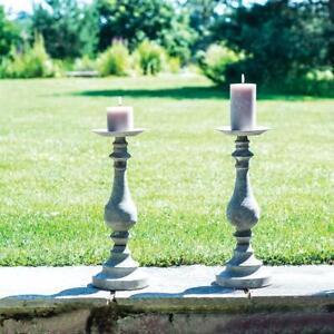 Tall Grey Metal Adelphi Candlestick Vintage Dinner Taper Candle Holder, 15x42cm