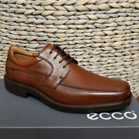 ECCO Mens 47 13 - 13.5 Seattle Square Moc Toe Derby Shoes Brown Leather Oxford