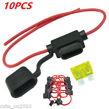 10Pcs ATC/ATO 16 Gauge 25A Vehicle Auto Car In-Line Fuse Holder for Blade Fuses