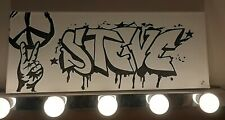 Personalised grafitti canvas bedroom door name  home decor office Steve Stephen