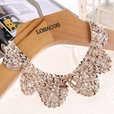 Elegant women fake collar necklace gold Sequin Pearl beads statement necklace