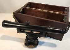 "Vintage W & Le Gurley Transit Surveyors w/ Original Wood Box Case 17.5"" Large"