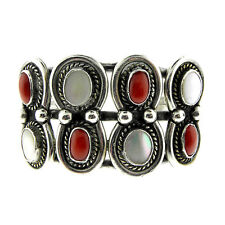 Coral Mother of Pearl Cuff Ornate Navajo Sterling Silver Red