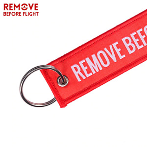 Remove Before Flight KeyTag Chain Ring Red Embroider Car Bike Bag New KeyChain