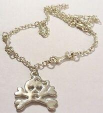 collier chaine pendentif tête de mort os bijou couleur argent gothique 4918