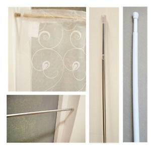 Tension Twist and Fit Extendable Curtain Rods - Choice of Colour and Size